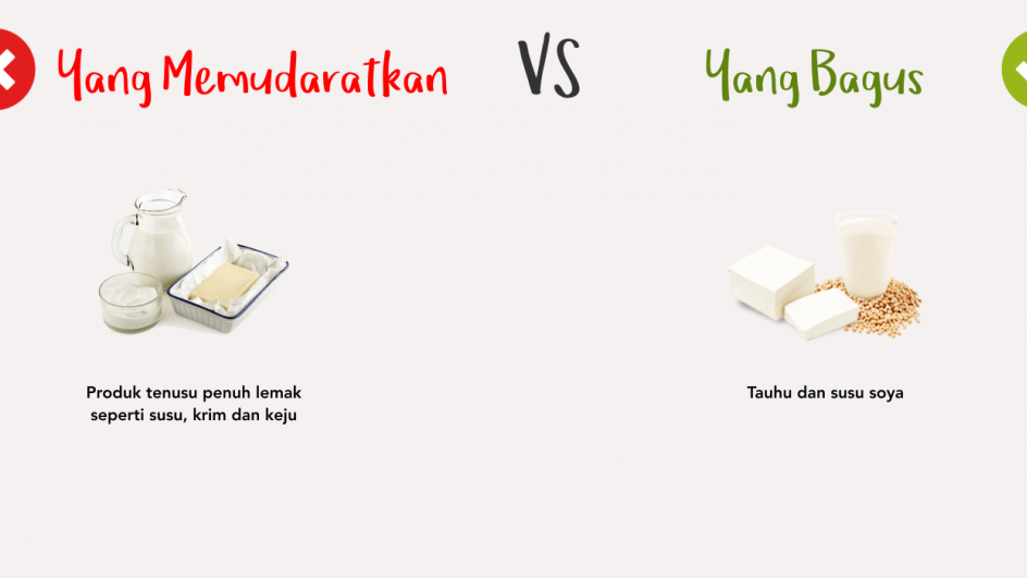 Yang Memudaratkan vs Yang Bagus - Produk Tenusu Penuh Lemak vs Tauhu dan Susu Soya